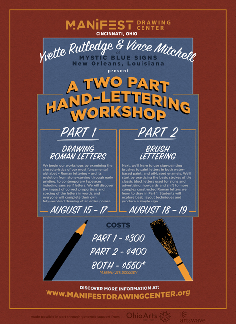 Hand Lettering Workshop in Cincinatti<br>August 13-19, 2018